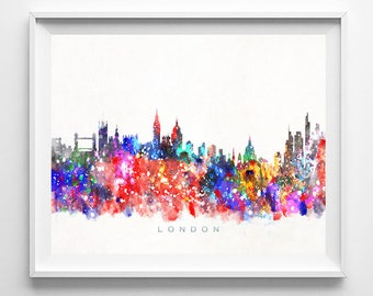 London Skyline, Print, England Print, London Art, Cityscape, City Skyline, Wall Art, Giclee Art, Home Decor, Wall Decor, Mothers Day Gift