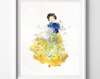 Snow White, Snow White Print, Disney Princess, Snow White Art, Disney Print, Watercolor Painting, Princess Poster, Type 1, Valentines Day