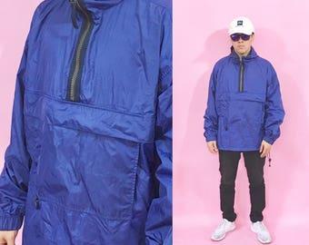Vintage windbreaker hoodie blue jacket 1990s 1980s 90s 80s old navy gap blue jacket