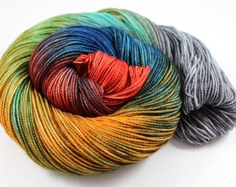 Oh, Industry! Sock Yarn Hand Dyed - 100g 400y 2-ply - PREORDER - Gray, blue, paprika, rust, turquoise