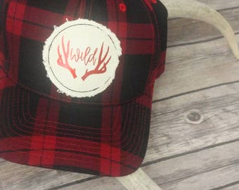 Womens Baseball Hat, Ladies Baseball Cap, Wild and Free, Stay Wild, Wild Spirit, Deer Antlers, Bohemian Style, Boho Fashion, Adventure