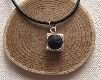 Essential Oil Diffuser Necklace Black Lava Stone Diffuser Aromatherapy Jewelry Black Leather Necklace Silver Framed Lava Bead