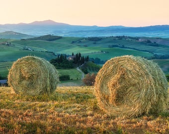 Tuscan Hay Bales, Tuscan Countryside, Tuscany, Italy, Farmhouse, Rustic, Belvedere, Val d'Orcia - Travel Photography, Print, Wall Art