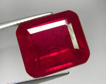20.70 ct. Big Size Octagon Blood Red Ruby Synthetic Diffusion Hand cut