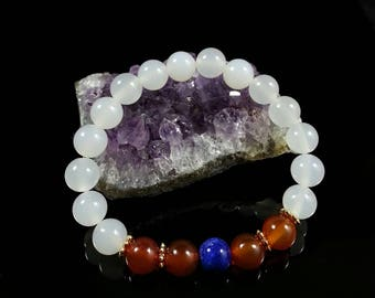 White Agate Bracelet -w/ Carnelian Agate & AAA Lapis Lazuli,24k Gold Filled,8mm,Grade AAA,Snow White Agate, Gift for Mothers, Christmas Gift