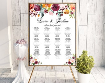 Wedding Seating Chart Sign Poster - Floral Watercolor - Editable Template - Printable DIY PDF JPEG File - 18x24 or 24x36 - Riley Formal
