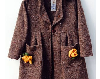 Tweed wool coat for girl-girl Cecibirbona