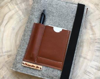 Calendar book cover · Felt & Leather · Grey/Cognac
