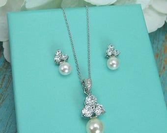 SALE Ends Monday Bridesmaid Jewelry Set, CZ Pearl Wedding Necklace Set, bridal jewelry, wedding jewelry, cz jewelry set, pearl jewelry set 2
