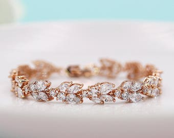 Wedding Bracelet Rose Gold, Bridal Bracelet, cz bracelet, cubic zirconia bracelet, rose gold bridal jewelry, Marquise bracelet 531004518