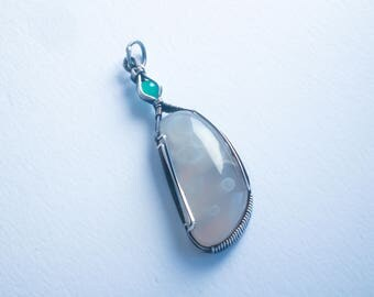 Rare Tube agate and Chrysoprase wire wrapped pendant in sterling silver