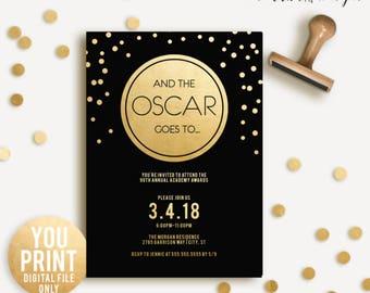 Oscar Party Invitation, 2018 Oscar Invitation, Academy Awards 2018, Black and gold Oscar Party, Oscars Invite, DIGITAL DIY