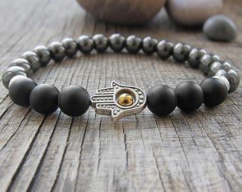 Hamsa bracelet Good Luck bracelet Hematite bracelet Protection bracelet  bracelet Mens jewellery Matte Black Bracelet for men