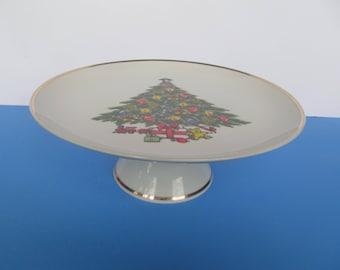 Cake Plate - Pedestal  Cake - Pie Plate - Ceramic Plate - Christmas Tree - gold rimm