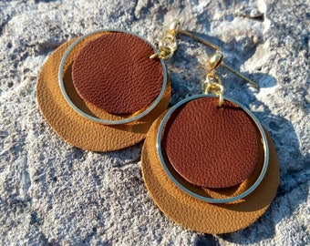 Leather Earrings, Brown Leather Earrings, Round Earrings, Gold Earrings, Modern Earrings