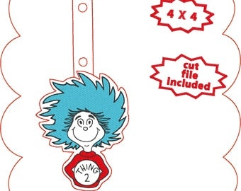 Dr. Seuss' Thing 2 keyfob ith  snaptab cartoon book character embroidery design
