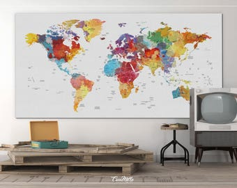 World Map Wall Decor world map push pin travel theme decor nursery world map