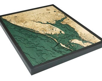 Charlotte Harbor Wood Carved Topographic Depth Map