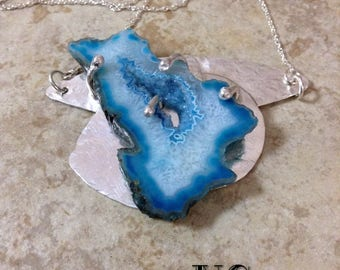 Druzy slab mounted on sterling silver pendant OOAK