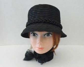 Black Summer Hat With Braided Hatband // Size 53 // Made In Switzerland