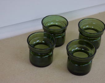 Mid-century Dansk set of four green glass candle holders