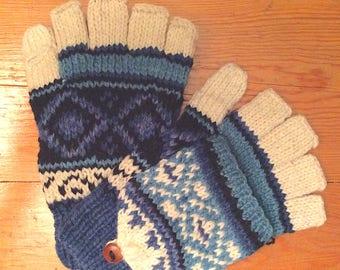 "Blue, Soft, Handmade 100% Alpaca ""Diamond"" Hooded Texting Glove, Glitten, Terrific Gift! Multi Functional! Perfect for texting!"