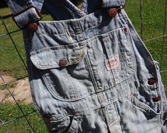 Vintage Big Mac Sanforized Herringbone Denim Overalls by Penny's for Boys or Girls