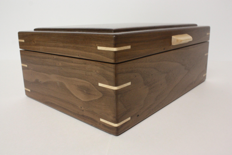 Large Handmade Wood Box with Hinged Lid