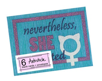 Girl Power Cards, Set of Notecards, Nevertheless, She Persisted, Female, Cards For Her, Strong Woman Gift, Feminism, Thank You Notes, Pink