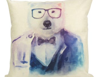 Hipster Polar Bear - Pillow Cover