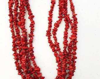 "23"" red sponge coral multi strand necklace"