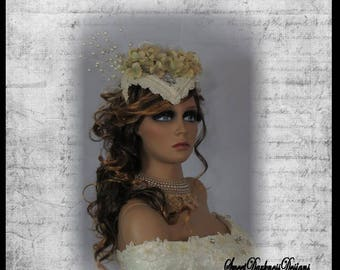 STEAMPUNK BRIDAL Head Piece Bridal FASCINATOR Victorian Bridal Veil Hydrangea Pearls Ivory Lace Bridal Steampunk Wedding Head Piece