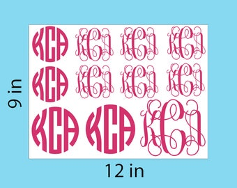"Monogram Vinyl Decal Stickers Sheet 6"" 9"" 12""  - 2 Different fonts - Wall Decal macbook pro 13 sticker apple decal skin decor"