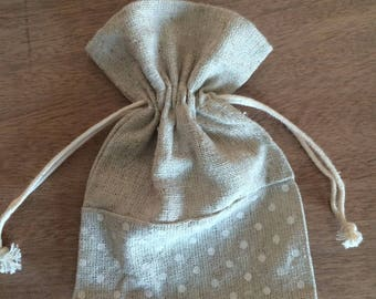 Bag of linen and polka dots 10 cm x 14cm
