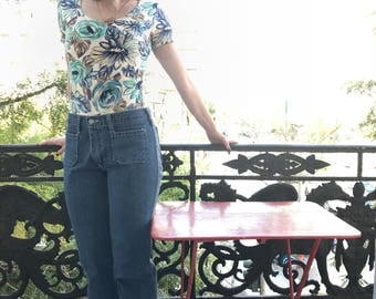 daydream bodysuit/floral bodysuit/vintage 70's bodysuit/boho hippie bodysuit/romantic blouse/cream blouse/festival top/70's bodysuit/s