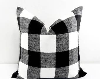 SALE Black Pillow. Black  Buffalo Check Cushion Covers. Black and White. Country Style Pillow Case. 1 piece.  cotton. Select your size