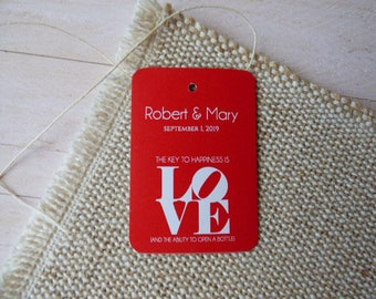 The Key to happiness is Love Tags, Bottle Opener Tags, Wedding Thank You Tags, Custom Wedding Tags, Favor Tags. Set of 25 to 300 pieces
