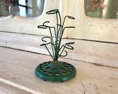Vintage Wire Loop Flower Frog, Spring, Garden, Industrial Farmhouse, Green