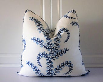 Decorative Pillow Cover Using John Robshaw For Duralee Fabric-Prasana in Bluebell-18x18,20x20,22x22,24x24