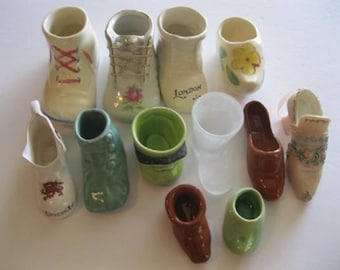 Vintage 12 Shoes Boots & Booties Miniature Collectibles Pottery Porcelain Decorative
