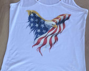 America Flag USA Bald Eagle Design- CUSTOM WORDING -Patriotic - 4th of July -T Shirt Tank Racerback - Mens - Womens - Unisex