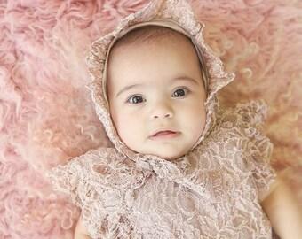 Millie Lace Romper and Bonnet Sets #vintage #lace #PlushPink