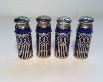 2 Sets Vintage Cobalt Blue Glass and Silverplate Salt and Pepper Shakers LEONARD SILVERPLATED