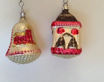 Set of 2 vintage tree/house Christmas ornaments