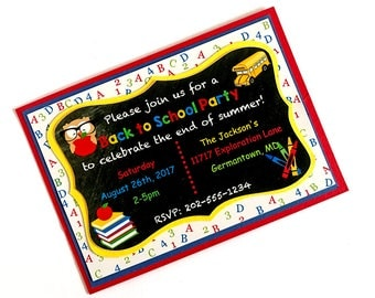 Back to School Invitations, Back to School Party Invite, End of Summer Party, Chalkboard Invite, Back to School Bash End of Summer Invite-10