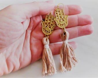 Hamsa Earrings, Tassel Earrings, Antique Gold Earrings, Hippie Earrings, Boho Earrings, Fringe Earrings, Hamsa Hand Earring, Ethnic Earrings
