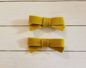 Zoe Piggies- Mustard- Handmade- Alligator Clip- Hair Bow- Pigtail Bow- Baby Bow- Mustard Bow- Little Girls Bow- Felt Bow- Wool Felt