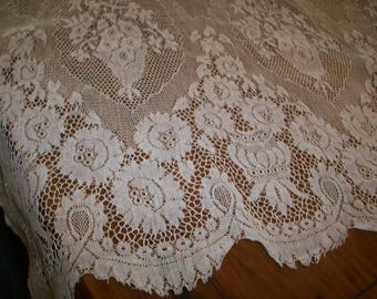 """1 yd. length Antique cotton wide lace 22 """" wide beautiful pattern"""
