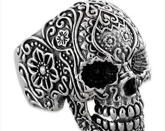 August SALE Sterling Silver 925 Biker Skull Ring Floral Design Made in USA