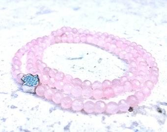 Rose Quartz Bracelet-  Pink Gemstone Bracelet- Triple Wrap Stone Bracelet- Fourth Chakra Energy Gemstone-  The Love and Heart Stone